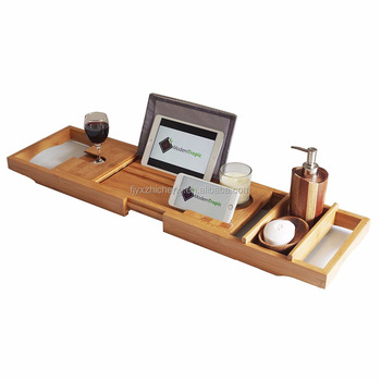 Wholesale Bamboo Luxury Bathtub Caddy Tray With Sponge Dish And Wide ...