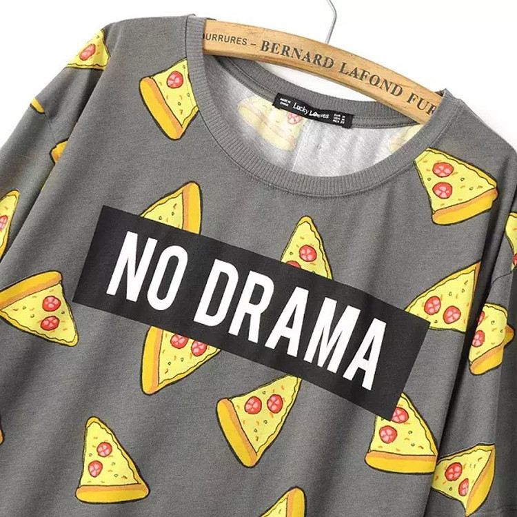 322926b01 2016 New Pizza Cake Print Cotton T Shirt Women Girl NO DRAMA Tops Short  Sleeve Shirts Casual Camisas Femininas Tops Quirky T Shirt Awesome T Shirts  For Sale ...