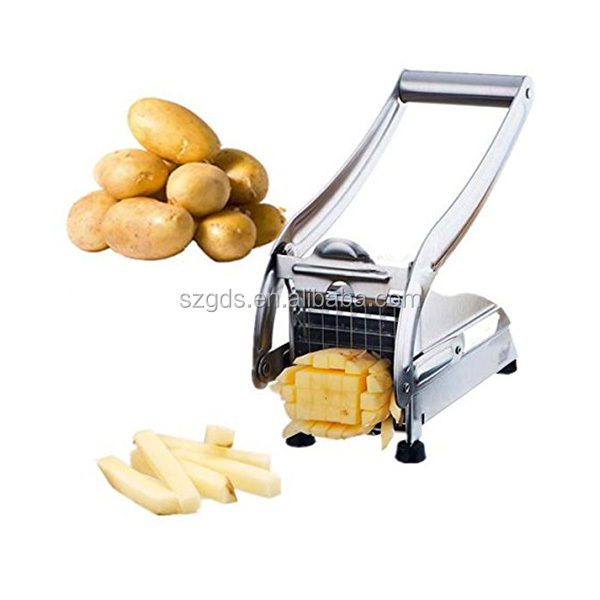 Potato fries cutter,Stainless Steel French Fry Cutter Potato Vegetable Slicer Chopper Dicer 2 Blades