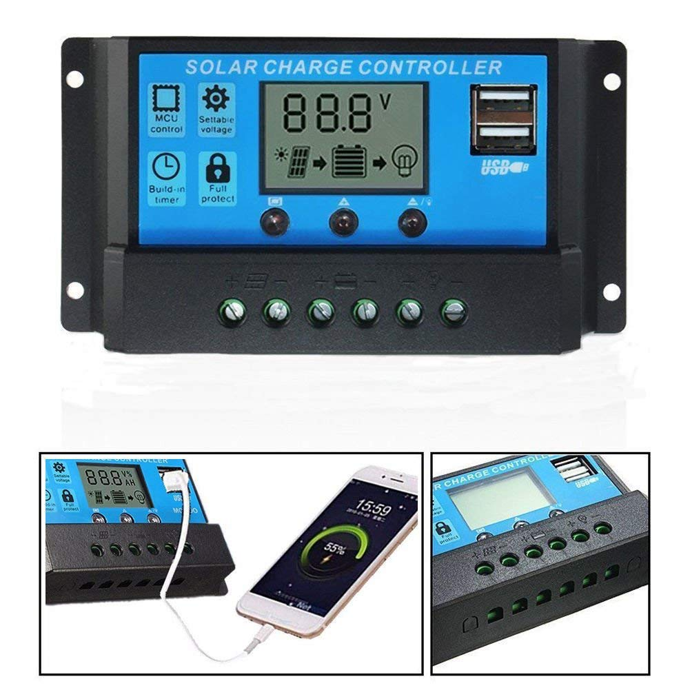 OOYCYOO 10A 20A 30A Solar Charge Controller Solar Panel Controller PWM 12V/24V Auto Paremeter Adjustable LCD Display Solar Panel Battery Regulator with Dual USB Load Timer Setting ON/OFF Hours (10A)
