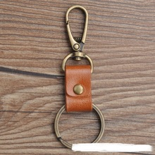 Hot sale handmade old fashioned genuine leather key ring cowhide leather key chain