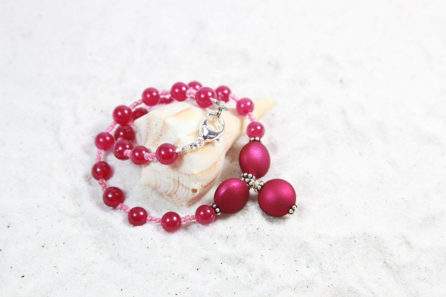 HOT PINK Beaded Anklet Summer Jewelry Anklet Beaded Anklet Pink Anklet