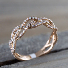 Bohemian rose gold color ring CZ wedding engagement ring for women personality fashion jewelry