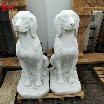 outdoor  life size  marble dog  sculpture for sale
