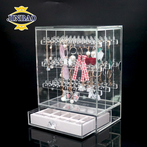 JINBAO Factory Custom Wholesale Makeup Cosmetics Earring Jewelry Organizer Clear Acrylic Ring Necklace Display Storage Box