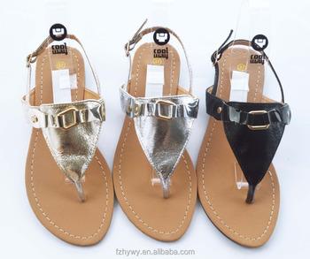 23991f8b9 Best stylish design Metal button type sandals Supplier Top Level flat women  shoes summer sandals