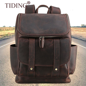 Tiding Wholesale Top Grain Leather Custom Luxury Backpack Travelling Real Leather Backpack Man Bag For 15 inch Laptop