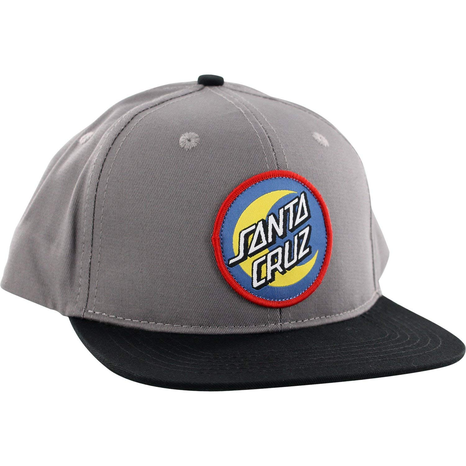 54fb6102f01c3 Get Quotations · Santa Cruz Skateboards Moon Dot Badge Grey Black Snapback  Hat - Adjustable