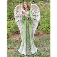 2017 new polyresin decorative life size guardian angel statue