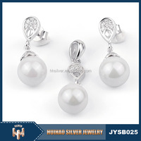Stylish Cheap Wholesale Fashion water drop new model jewelry 925 sterling silver wedding small pearl jewelry necklace set