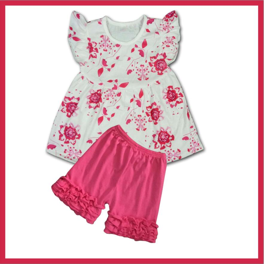 Flutter sleeve dress icing capris outfit new fashion girls wear first impressions baby clothes bulk wholesale kids clothing sets