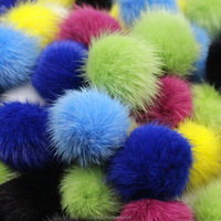 2016 new design two toned mink fur pompom plush spiky hairs factory supply high quality two tones mink fur pompoms