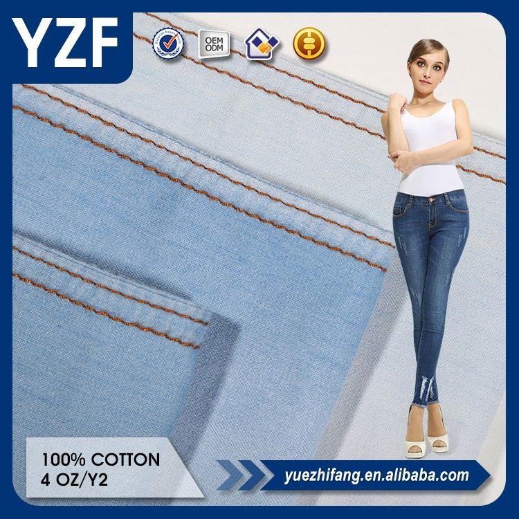 nice feeling 100% cotton denim fabric wholesale manufacture