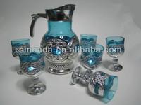 7pcs golden glass set,7pcs of gold plated glassware sets