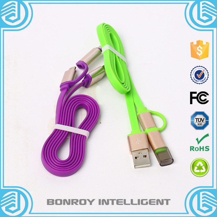 Fast speed Hot sale data line charging lines 2 in1 Micro USB Cable 1M Data Sync Charging Cable For iPhone /Samsung /Millet