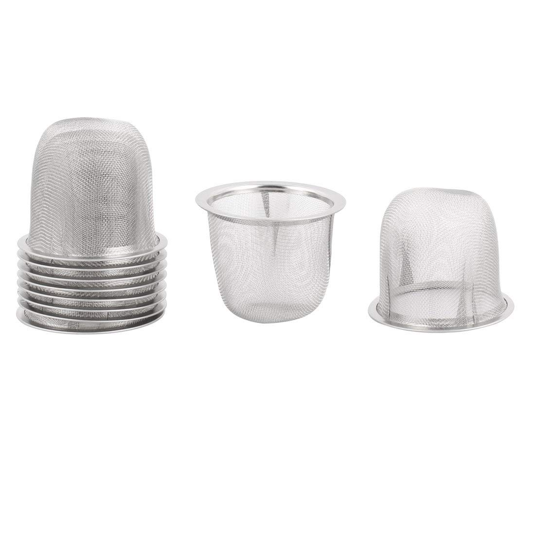 uxcell Stainless Steel Tea Leaf Spice Round Wire Mesh Teapot Filter Strainer 60mm Dia 48mm Depth 10pcs