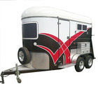 Colorful deluxe 2 horse trailer with cabinet