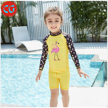 Children One Piece Boys and Girls Swimsuit Breathable Quick Long Sleeve UV Kids swimwear For Sunscreen