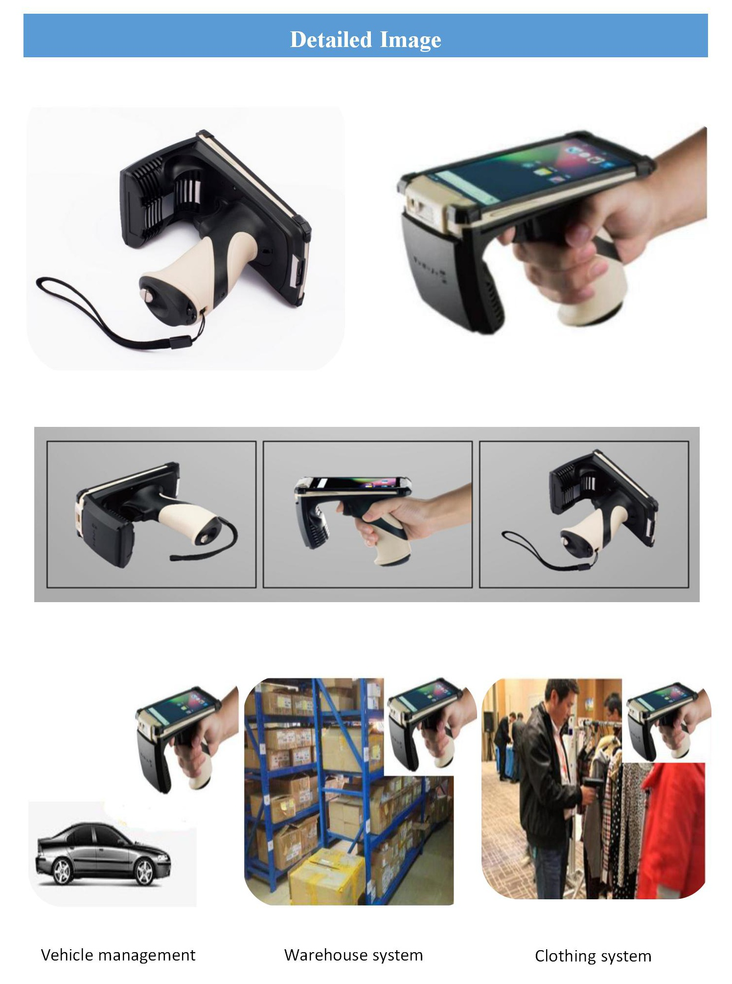 UHF RFID reader with WIFI bar-code scanner rfid attendance Long Range RFID Handheld Reader Writer Android in warehouse trace