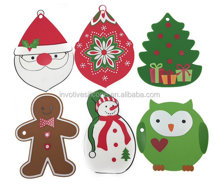 Fancy Christmas silicone trivet table mat with custom printing-1