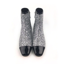 Free samples 2018new ladies low heel glitter silver shoes women boots