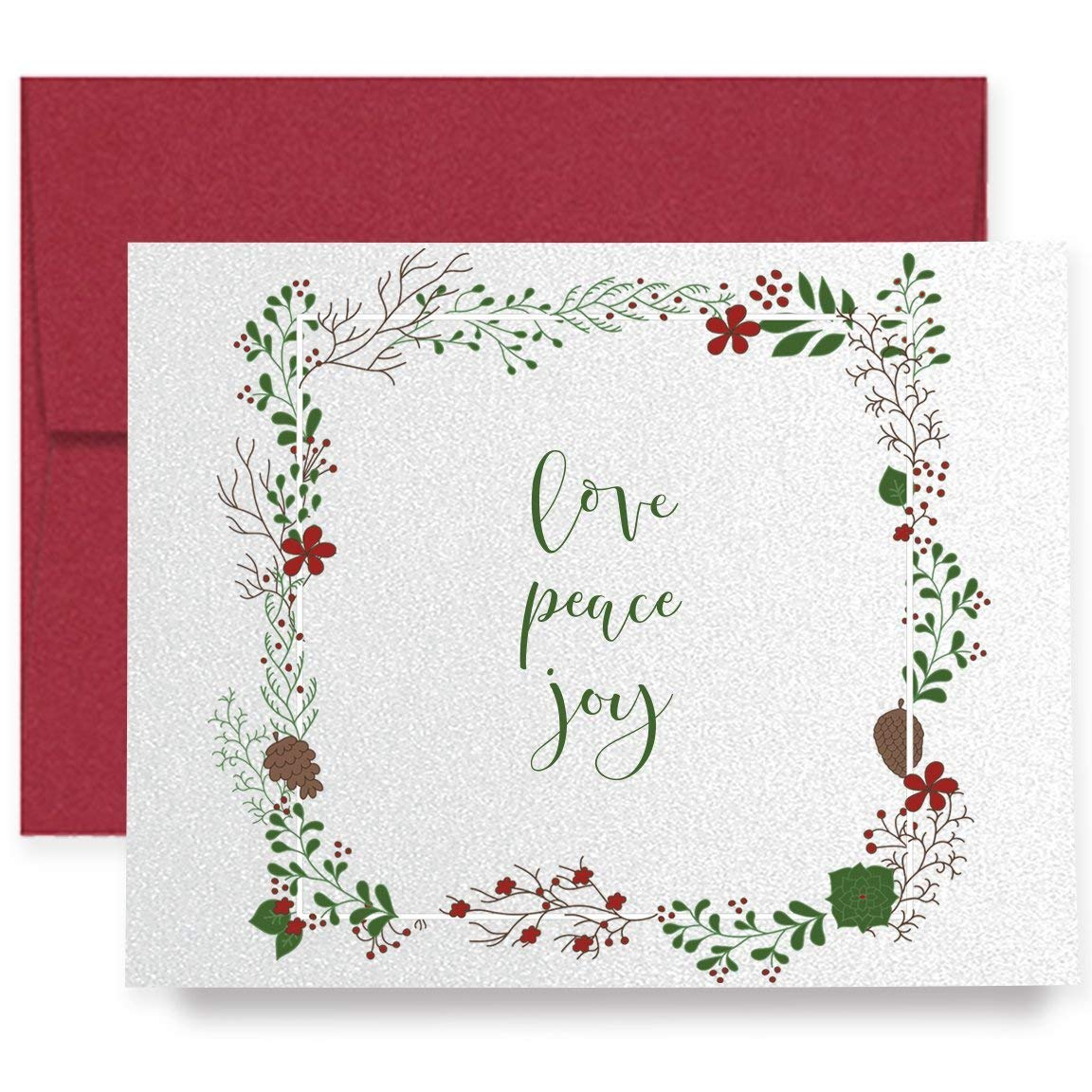 Buy Peace Joy Love Christmas Cards Box Set 16 Cards and 16 Envelopes ...