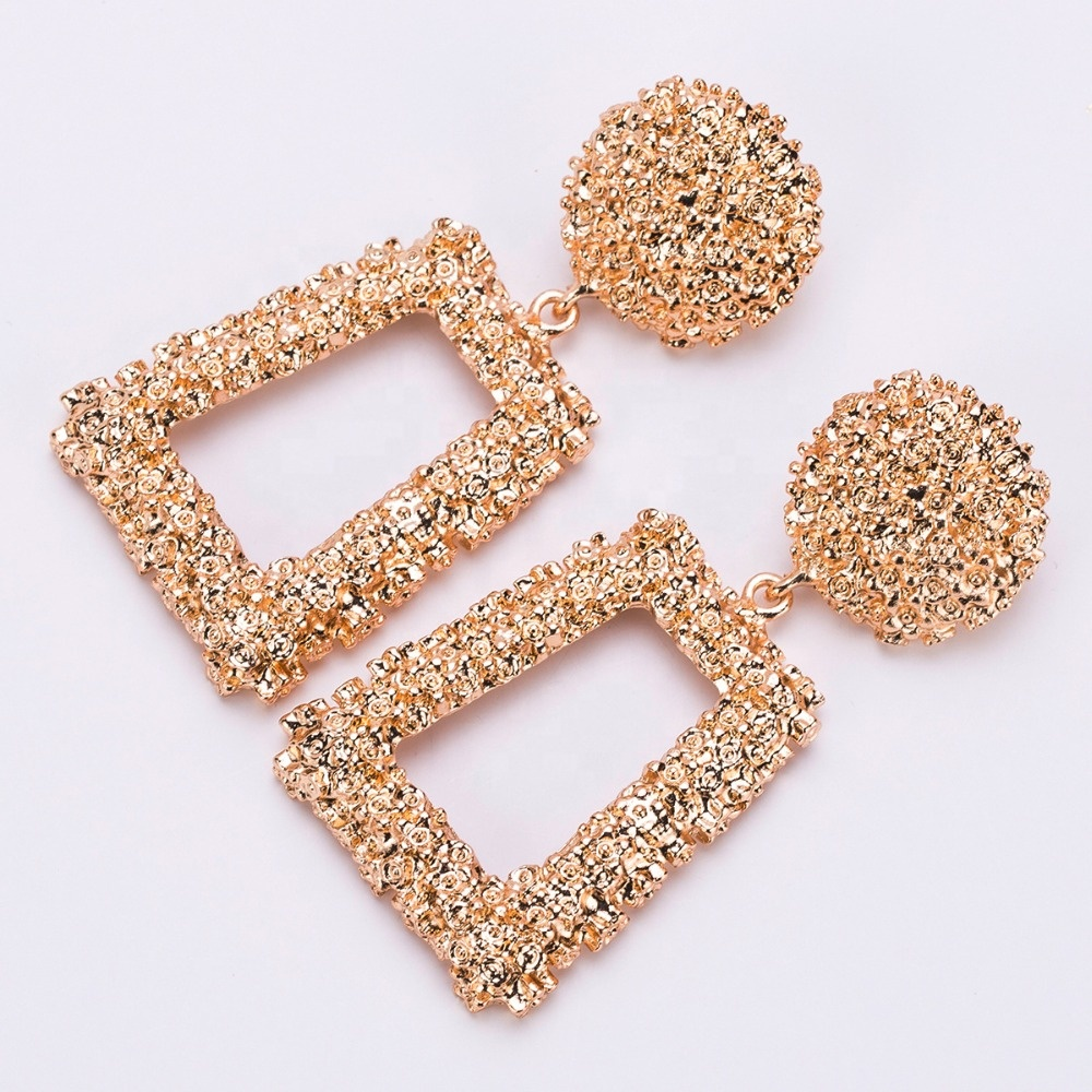 Big Vintage Earrings for women gold color Geometric statement earring 2019 earing hanging black yellow red fashion jewelry