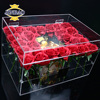JINBAO custom clear plexiglass pmma acrylic gift flower box with lid