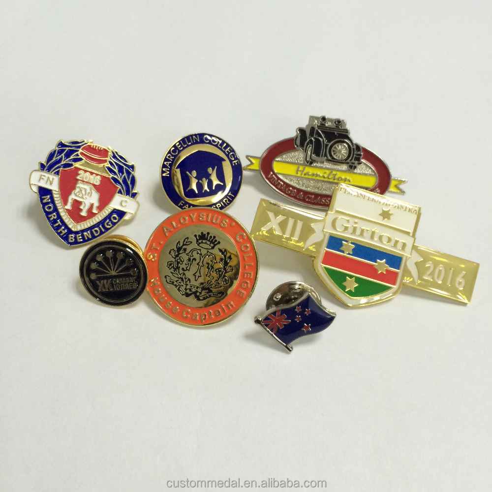 Customized shape and logo gold plating Sport Lapel pin badge with butterfly clutch in Soft enamel covered with resin/glass/epoxy