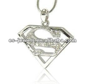 Crystal Superman Symbol Pendant Necklace Fashion Jewelry