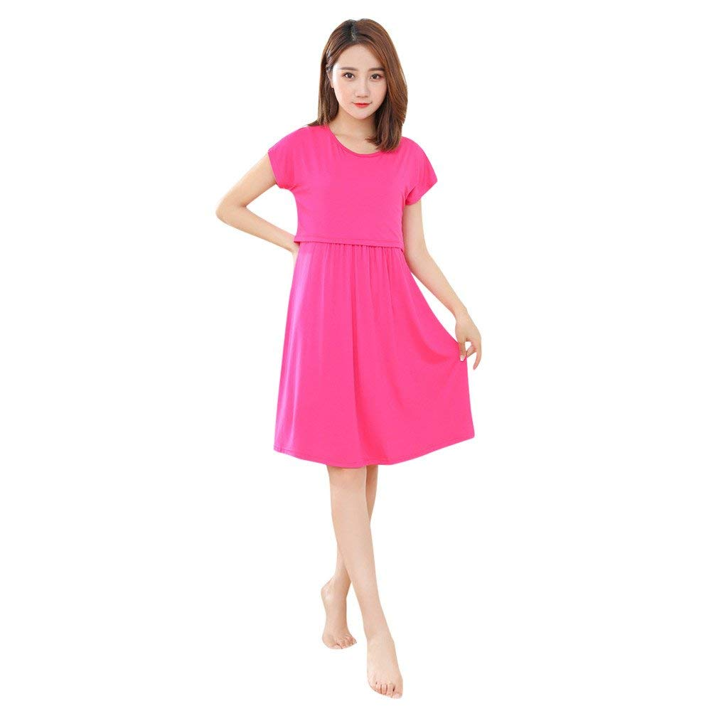 5b0640c4fb4c5 Get Quotations · Maternity Solid Dress - Franterd Mother Pregnants Nursing  Dress - Casual Nursing Baby Dress - Short
