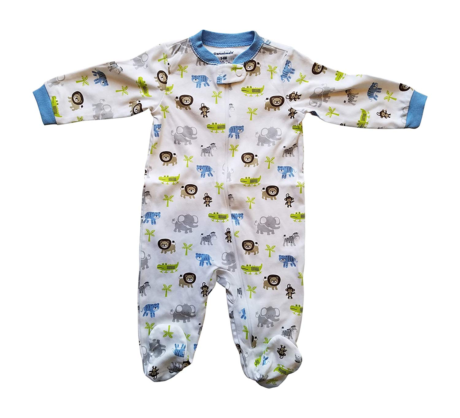 c56c29b075 Get Quotations · Baby Toddler Pajamas with Footies Jungle with Elephant  Tiger Monkey Alligator