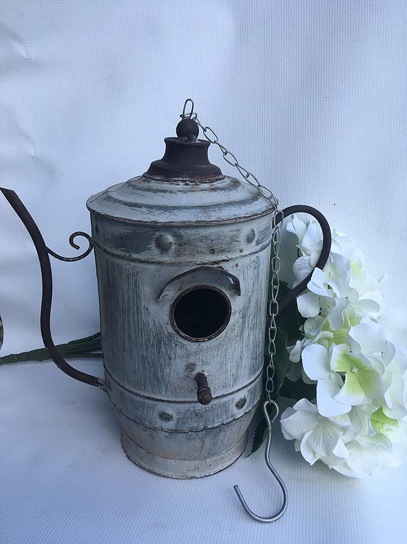 Hanging Tea Kettle Birdhouse - Cute Bird Home - Metal - Distressed Rustic Look