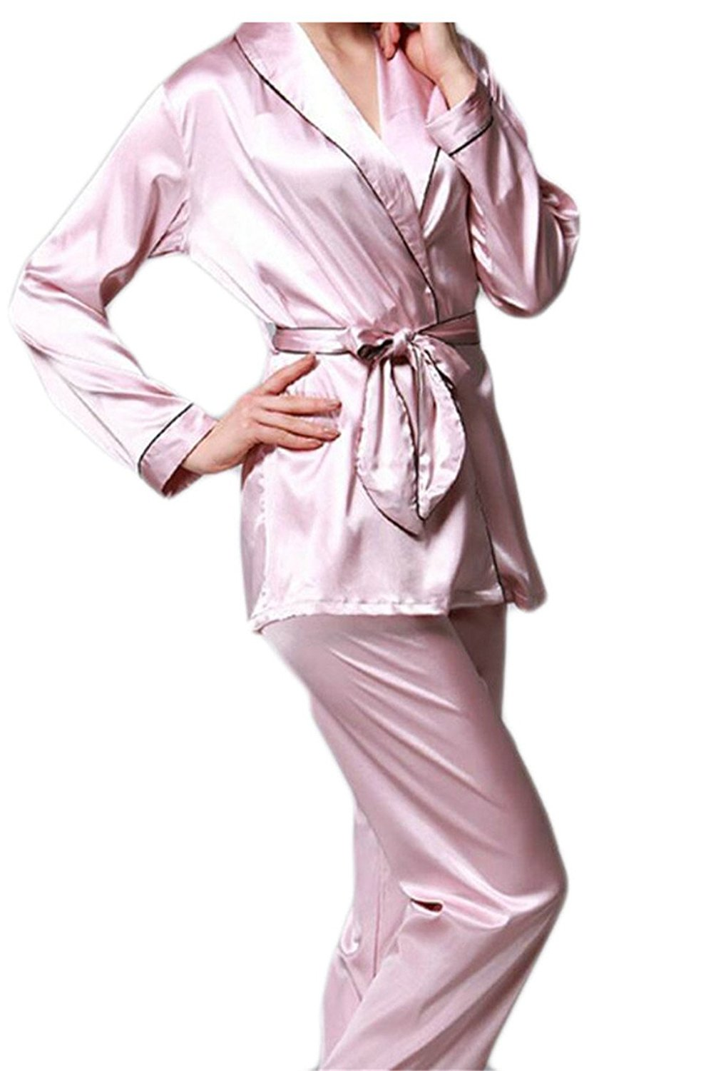 cac0486483 Get Quotations · Qiangjinjiu Womens Silk Satin Satin Pajamas Long Pants Set