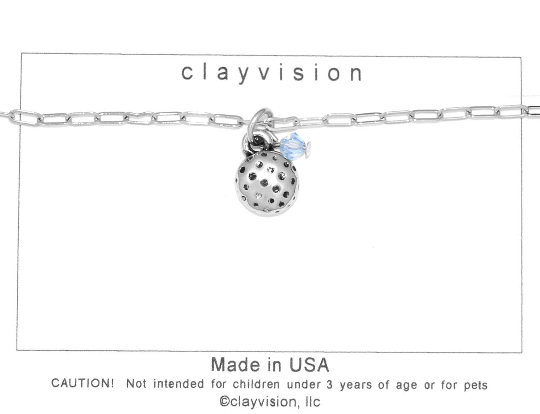 Clayvision Golf Ball (Flat) Charm Bracelet w/4mm Light Sapphire Colored Swarovski Crystal