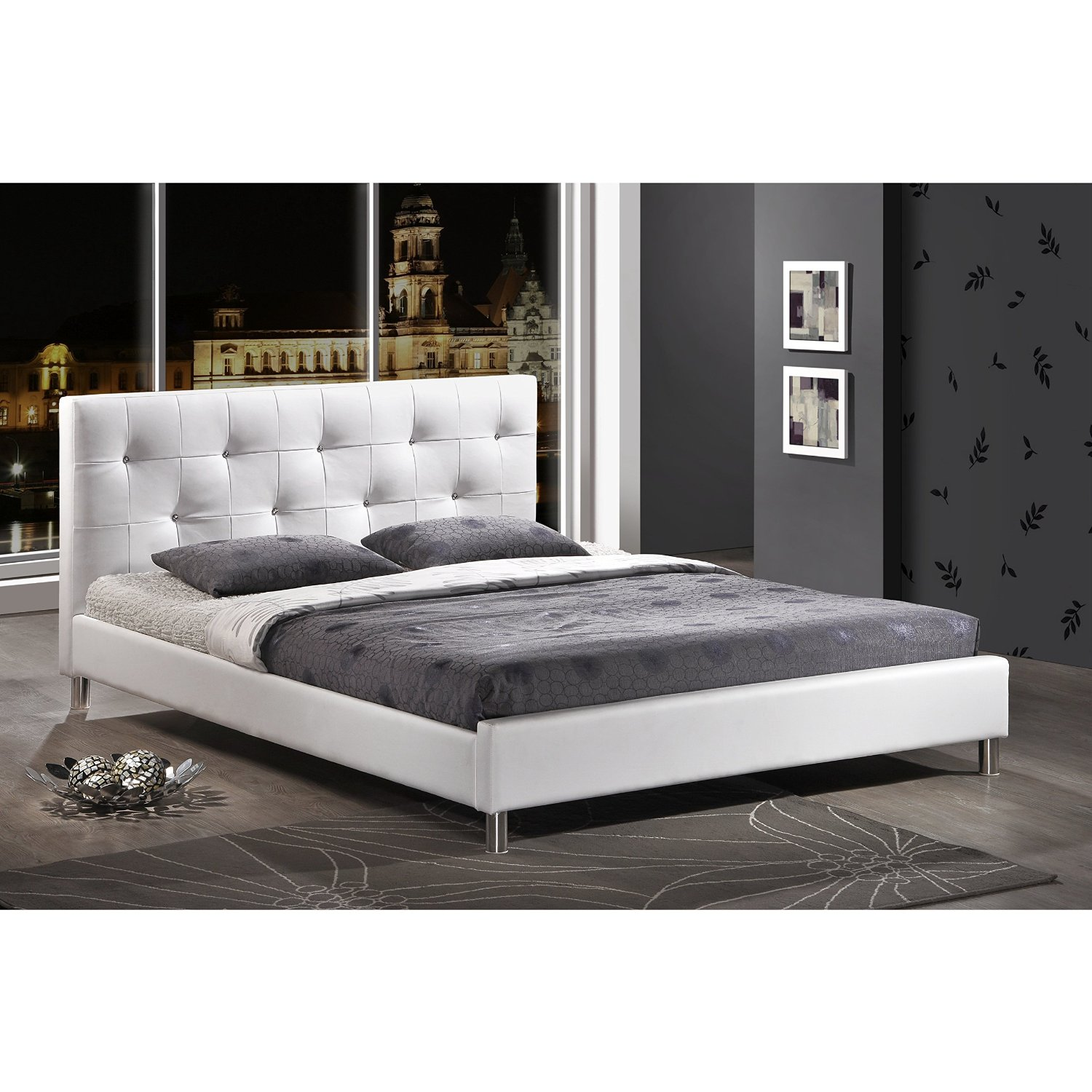 Metro Shop Barbara White Modern King-size Bed with Crystal Button Tufting-Barbara White Tufted Upholstered King Size Bed