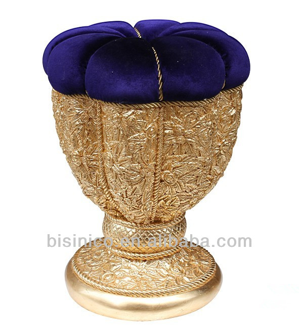 Deluxe Gold Painted Stool/Ottoman, Wood Carved Living Room Furniture,Victorian Style Goblet Dressing Stool