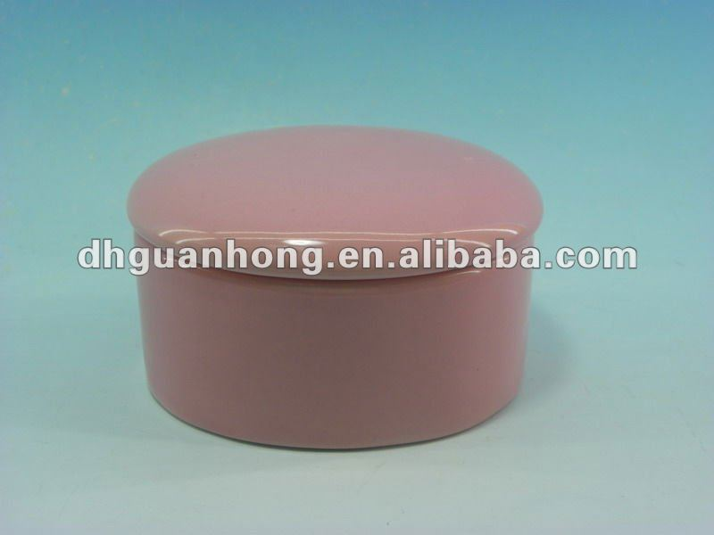 GLAZED ROUND SHAPE CERAMIC JEWELLERY BOX
