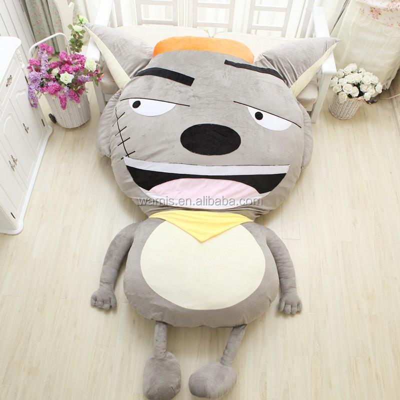 m m lobo de peluche de felpa suave para dormir cama tatami piso