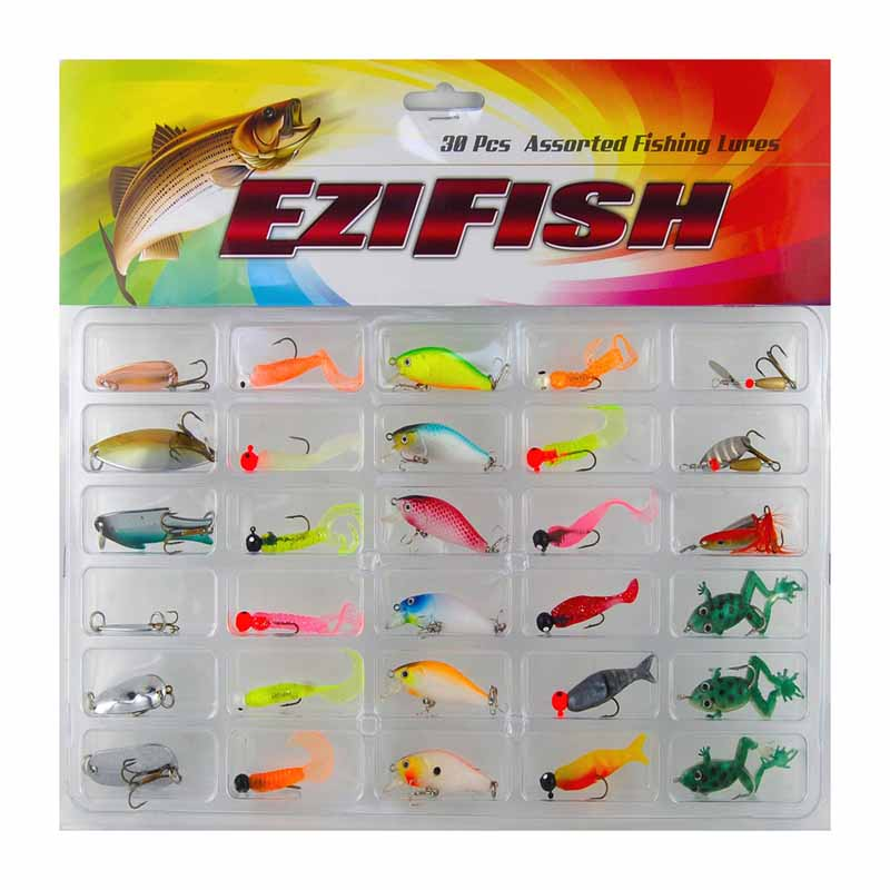 JSM 30pcs Assorted Hard Soft Spinner Spoon Fishing Lures Set Frog Minnow Crankbait