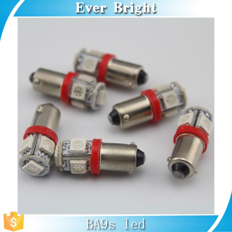 Chinese factory LED lamp BA9S 5050 5SMD for instrument/indicator/brake/plate/stop/ reverse lamp