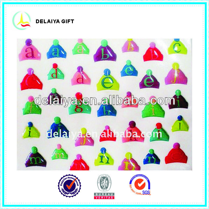Epoxy resin triangle letter stickers for children