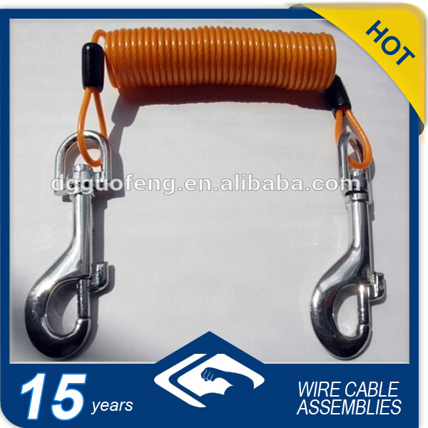 Fishing / Diving Small Coil Spiral Cable With Hooks