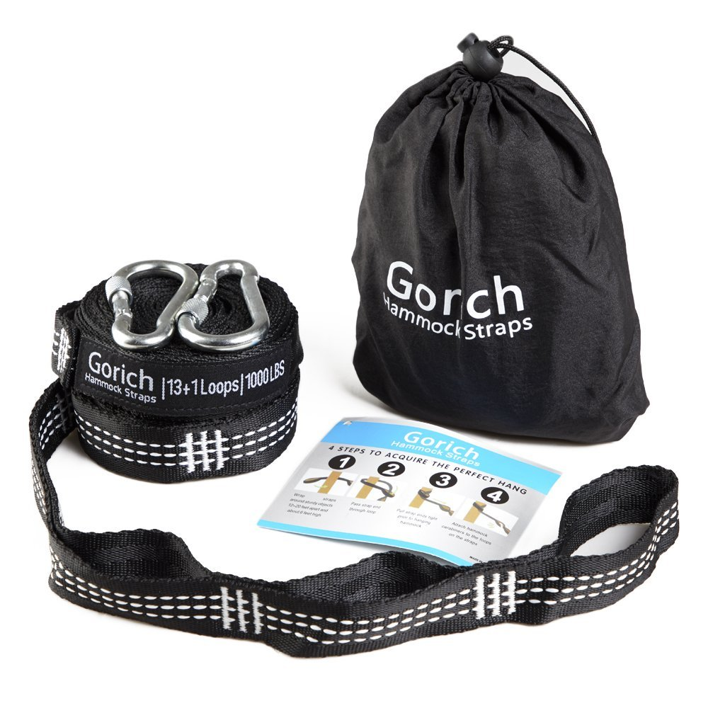 Gorich Hammock Tree Hanging Straps (Set of 2) w/CARABINERS – 400LB Rated (1200LB Tested), Adjustable 26+2 Loops, Non-Stretch, Easy Setup, Heavy Duty, Tree Friendly