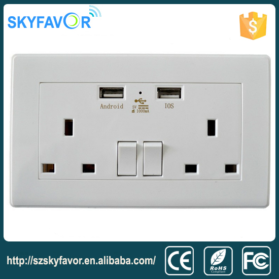Factory supply 2016 new style 2 ac power wall socket 2 USB ports small electric switch