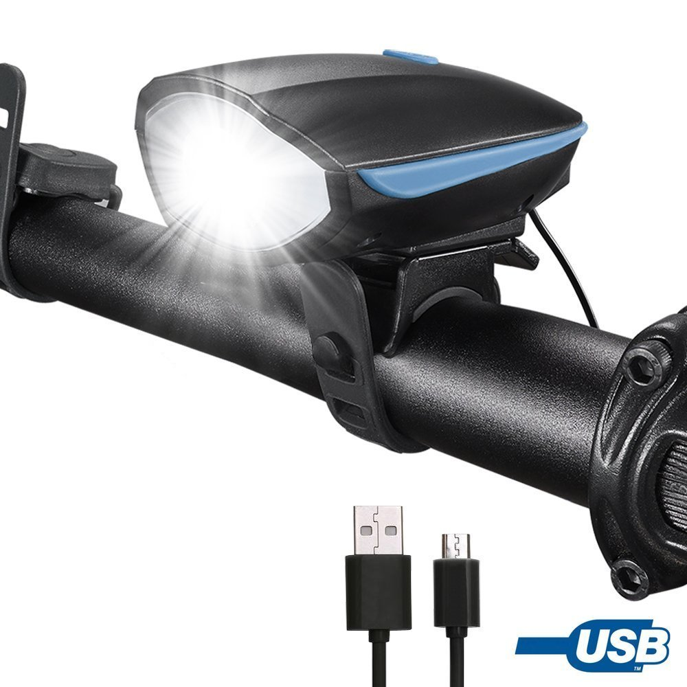 Alonefire lighting bike light headlight led bright front bicycle light USB rechargeable 350 lumen lights 4 mode 5 type horn touch button water resistant to outdoor sports safety cycling night ride