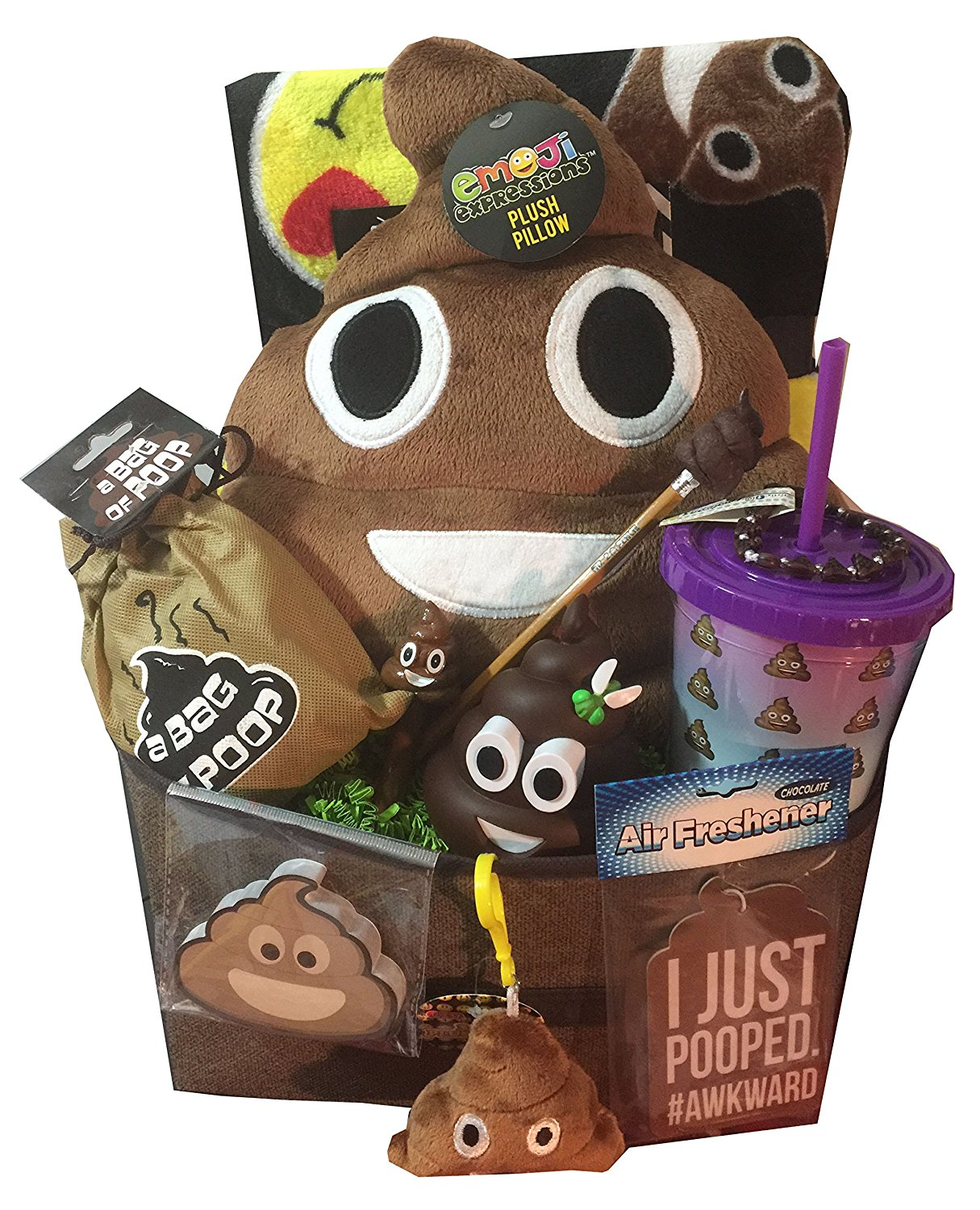 Ultimate CRAPPY POO GIFT BASKET includes Emoji Poop Pillow and alot of other Crap - Ideal for Poop Obsessed, for Christmas, Constipated, Shts & Giggles, Get Well or Just Because