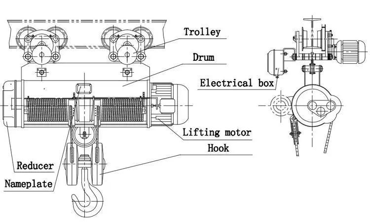 Điều Khiển Từ Xa Không Dây 1000Kg Mini Electric Chain Hoist /Crane Lift