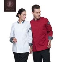 New design cotton/ polyester long sleeve double-breasted chef uniform unisex restaurant hotel bar chef uniform