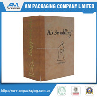 fancy wooden printing custom booked gift boxes packaging with base